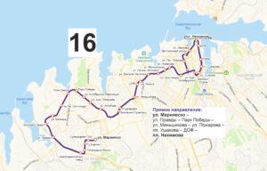 маршрут автобуса номер шестнадцать