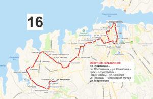 маршрут автобуса номер шестнадцать обратный