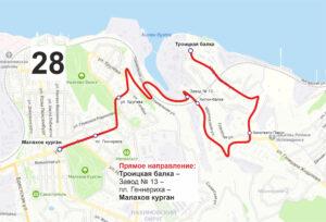 маршрут автобуса номер двадцать восемь обратный