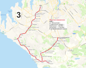 маршрут автобуса номер три обратный