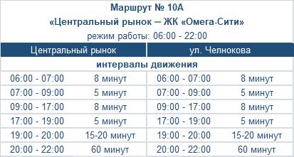расписание маршрута автобуса номер десять литера а