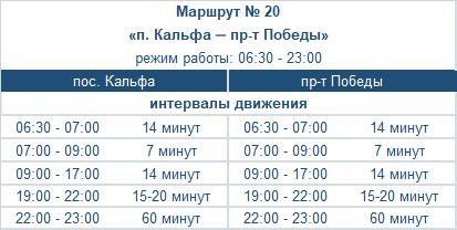 расписание маршрута автобуса номер двадцать