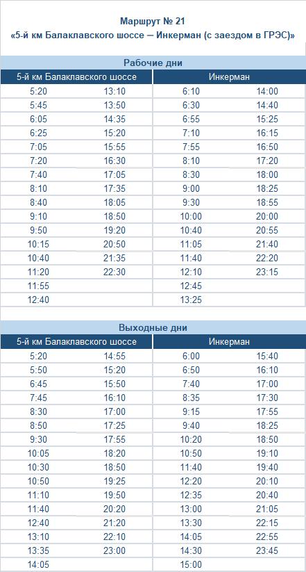расписание маршрута автобуса номер двадцать один