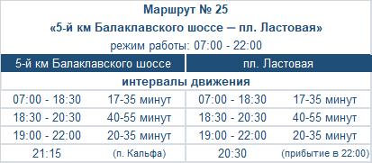 расписание маршрута автобуса номер двадцать пять