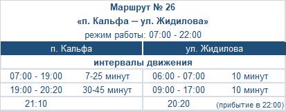 расписание маршрута номер двадцать шесть