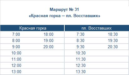 расписание маршрута номер тридцать один